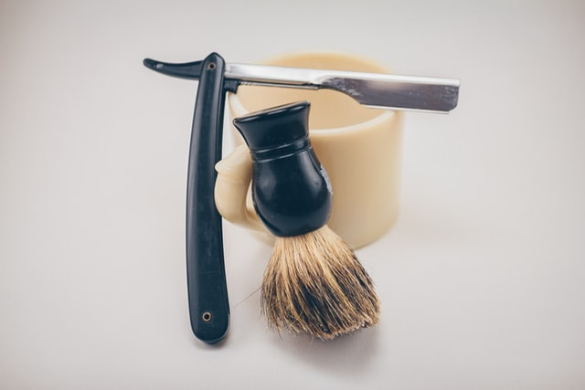 shaving brush and straight razor